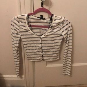 striped buttoned long sleeve t shirt